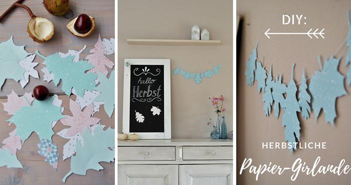 DIY: herbstliche Girlande aus Papier nähen - Smillas Wohngefühl