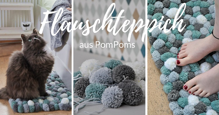 diy flauschteppich aus pompoms einfach selber machen smillas wohngef hl. Black Bedroom Furniture Sets. Home Design Ideas