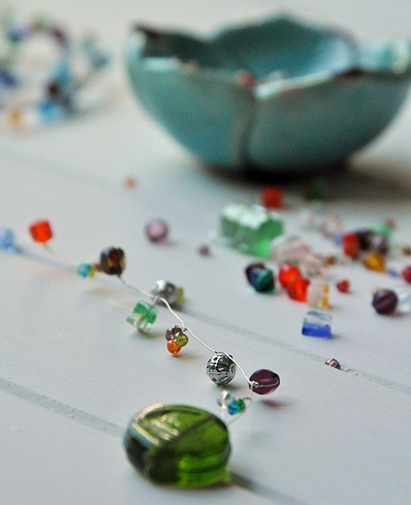 Draht mit Perlen DIY Blumenstecker