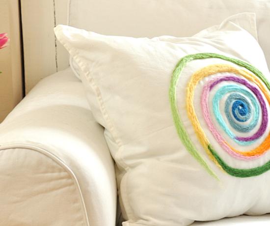 Muster filzen Regenbogen Kissen DIY