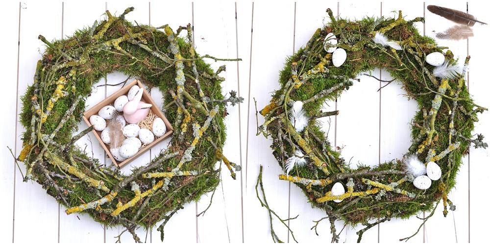 Kranz binden Moos und Äste Eier