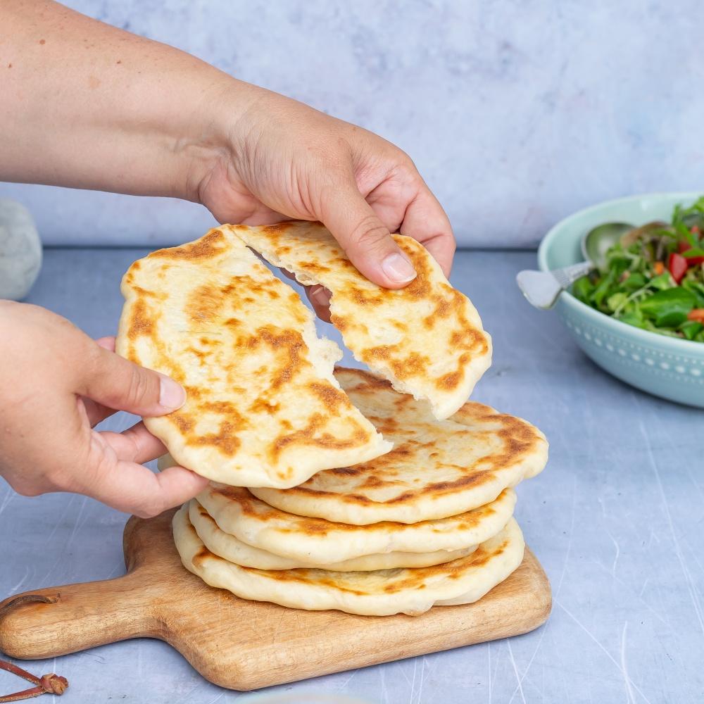 Naan Brot aus der Pfanne vegan