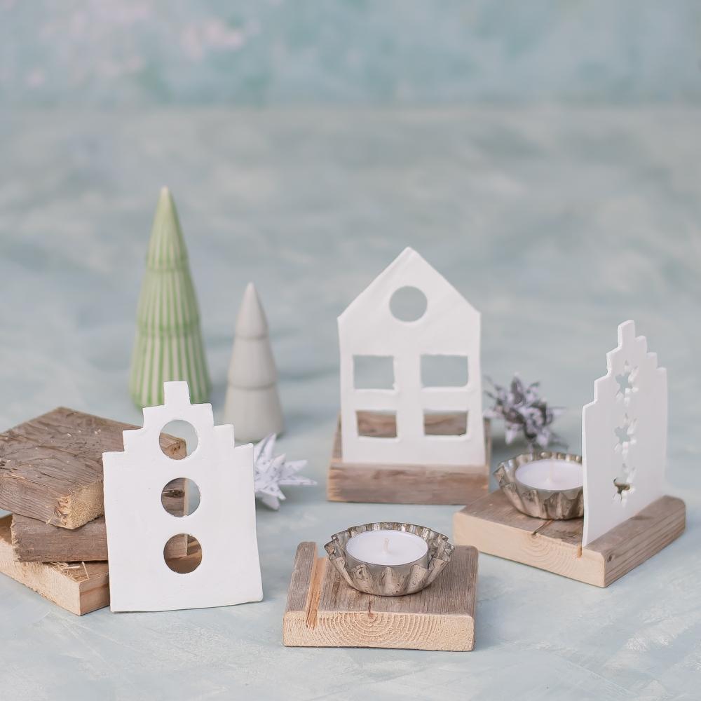 DIY upcycling Windlichter aus Modelliermasse und Palettenholz